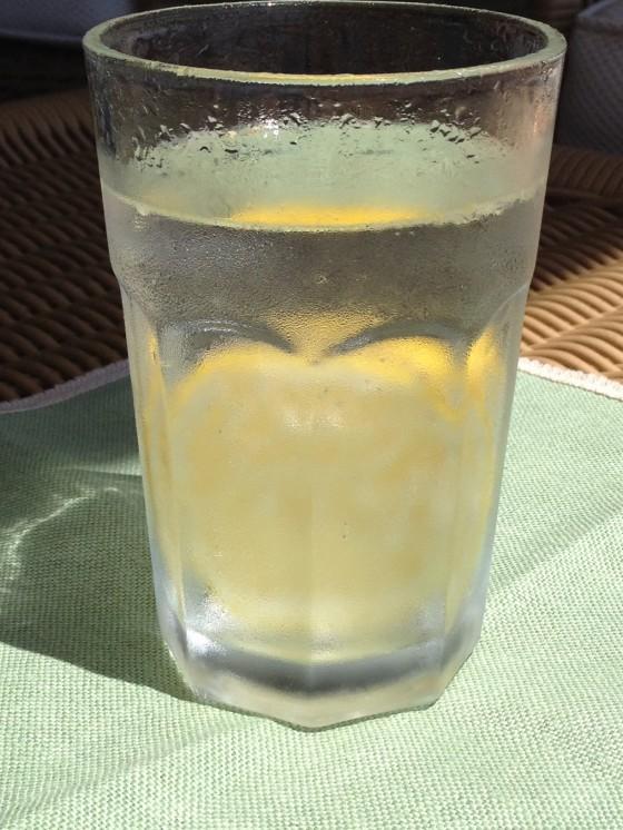água com gás e limão siciliano