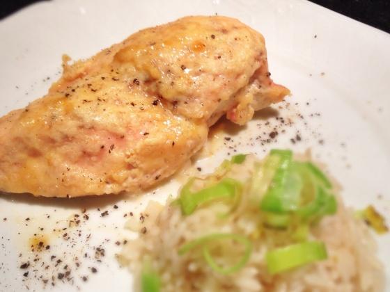 frango cremoso com geleia damasco